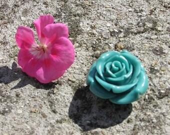 Pearl Pink Flower pierced 40 mm cabochon