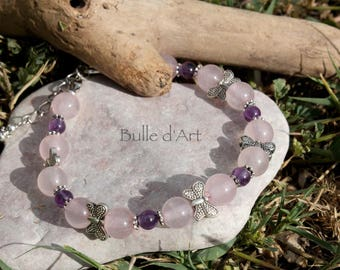 Stone Quartz bracelet pink and Amethyst