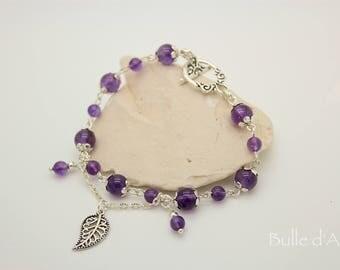 Amethyst stones & his leaf bracelet
