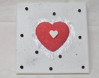 Frame painting on canvas frame red heart