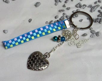 Key heart silver satin ribbon
