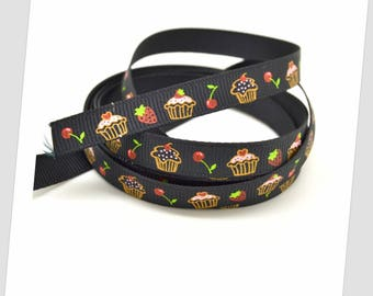 5 meters of Ribbon 9mm - black / cupcakes / Strawberry / cherry
