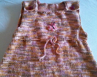 Girl custom knitted pinafore dress