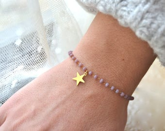 Gold plated bracelet violets and star beads