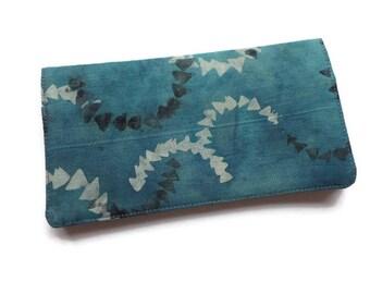 "Fabric Checkbook Cover 6.5""x3.5"", Coupons Wallet, Cash Holder Batik Blue"