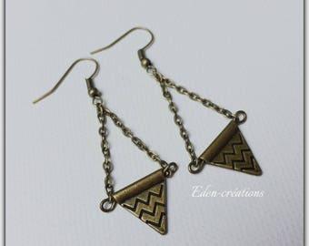 Triangle, bronze, retro, ethnic, geometric earrings