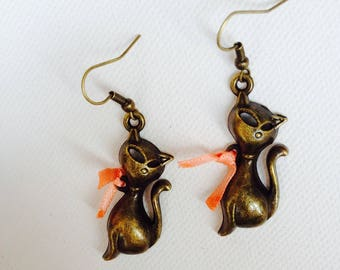 Cat, retro earrings, vintage, cat, cat