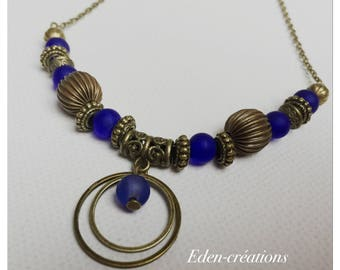 Ethnic necklace, beads, Royal Blue and bronze rings, necklace beads, bronze necklace