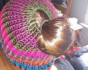Messy Bun hat, beanie, winter, accessory, acrylic yarn, polyester yarn