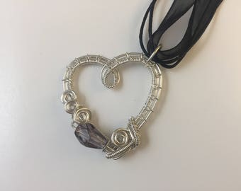 Sterling Silver Heart Necklace, Mothers Day silver necklace, February birthstone heart necklace, gift for her, gift for mom