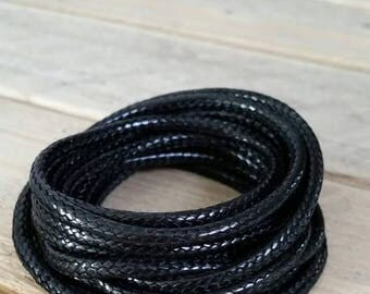3 mm black faux leather CORDS