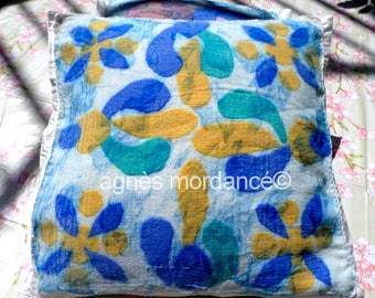 "Cushion cover silk felted ""Lisboa"" - 100% silk and Merino felted wool - OOAK"