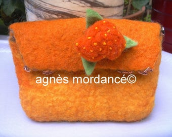 felted wool and silk pouch & removable pin - unique