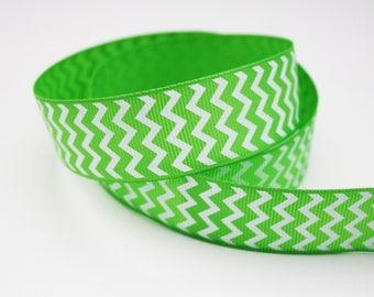 25 mm, 1 m green and white Chevron Ribbon, Ribbon grosgrain Chevron print, non adhesive