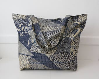 Blue and gray wax fabric tote bag unlined