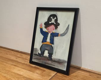 Small pirate painting - oil painting