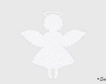 White paillete flex fusible Angel motif