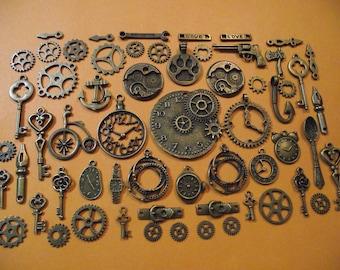 Set of 60 charms steampunk vintage bronze colour.  (ref: n 2)