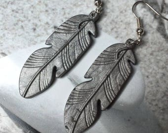 Silver polymer feather earrings