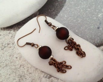 Copper tassel earrings