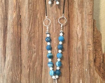 Blue Agate & Leather Necklace w/Earrings
