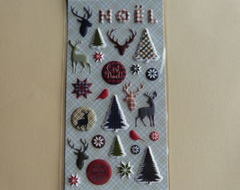 Deer and trees in relief 3D Christmas stickers