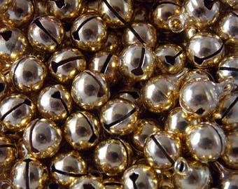 Set of 30 round bells 6mm gold