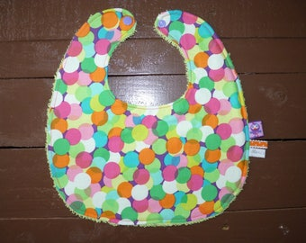Double multicolored dots and pistachio Terry baby bib