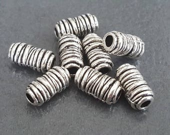 10 antique silver elongated 12 x 6 mm, metal beads, beads silver
