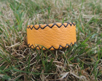 hand stitched Orange Leather Bracelet