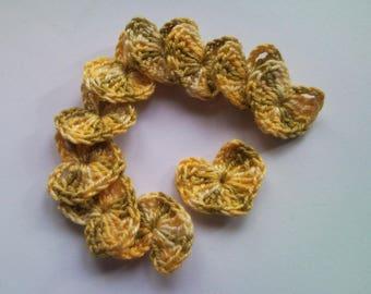 Cotton crochet hearts yellow green color gradient 2