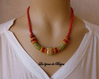 Short African style red, green and orange Bead Necklace from Ghana and glass bead