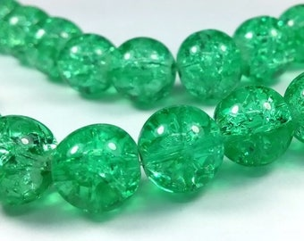 Green: 12 cracked beads 10mm (pv570)