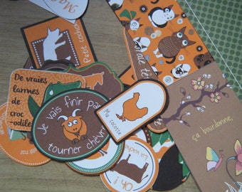 lot of 34 pieces for scrapbooking on the theme of nature and animals