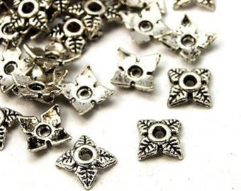 100 bead caps / bead caps in metal silver 6 x 6 mm