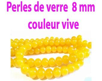 8 mm / 25 8 mm yellow orange glass beads