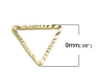 10 charms triangle gold plated 9 x 8 mm