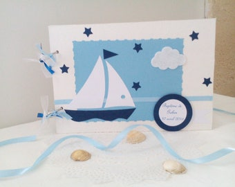 Blue and white nautical theme baptism guestbook