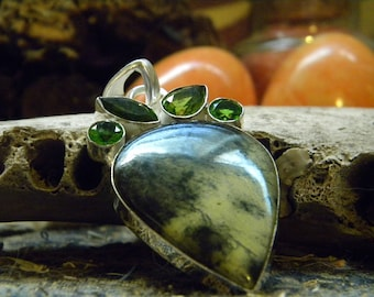 Atlantisite and Peridot Bohemian Style 925 Sterling Silver Pendant