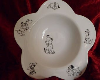 child's plate and Bowl Dalmatian pattern