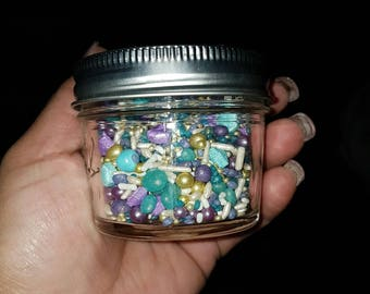 Purple. Turquoise and gold 4oz mix