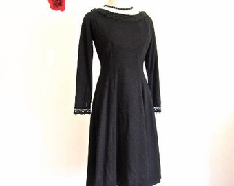 M L 50s 60s Black Wool Dress Velvet Ribbon Lace  Knit by Deb Time Originals Full Skirt Vintage Party Cocktail Dress Medium Large