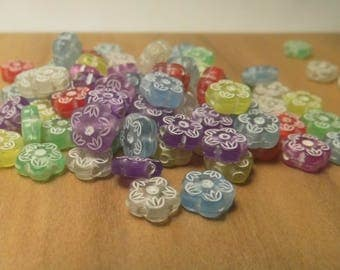 60 BEADS 8MM MULTICOLOR FLOWERS