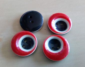 set of 4 buttons round fantasy red and black plastic