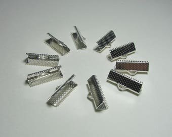 Set of 10 tips Clip setting, 20 mm, silver metal.