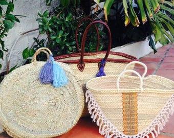 AVA - Bespoke Boho Ibiza Straw Basket - Market Shopping Beach Bag- Orange Cream Tassels Fringing- Bohemian Hippie Style - ADD INITIALS