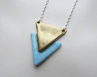 Silver necklace 2 triangles: blue and gold polymer clay
