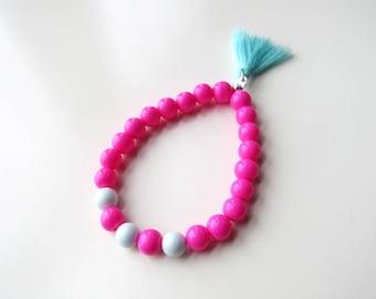 Glass pearl bracelet pink and blue Swarovski pearls