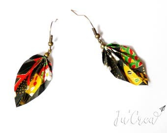 Origami black leaf earring