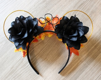 Black and Orange Halloween Floral Mouse Ears